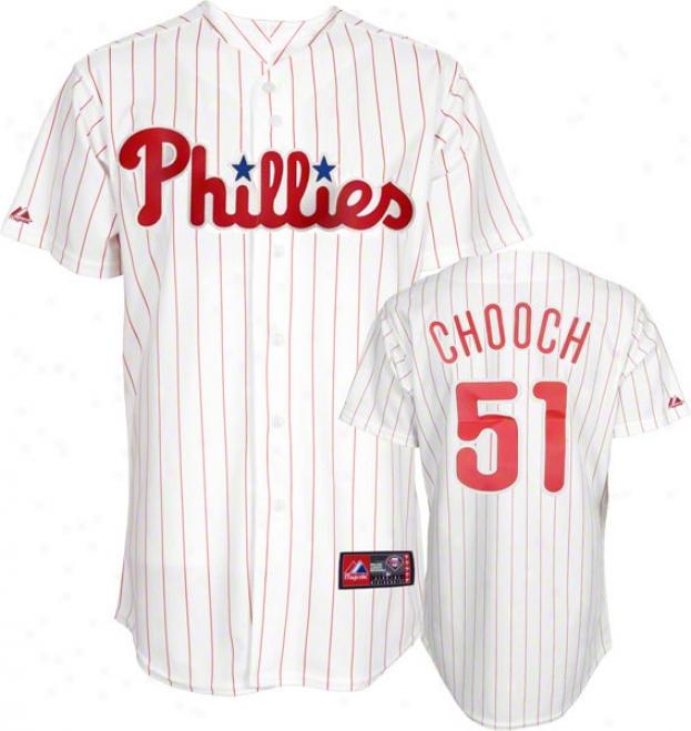 Carlos Ruiz Jersey: Adult Majestic Home White Autograph copy #51 Philadelphia Phillies &quotchooch&quot Jersey