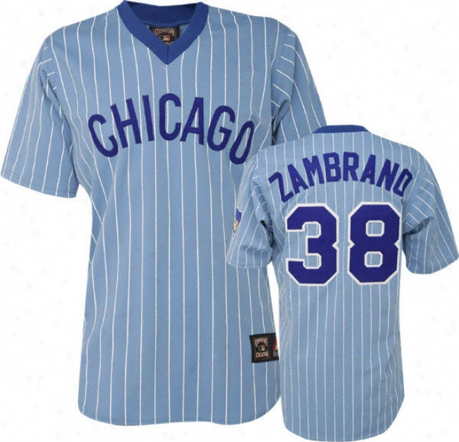 Carlos Zambrano Blue Majestic Light Pinstipe Cooperstow nReplica Chicago Cubs Jersey