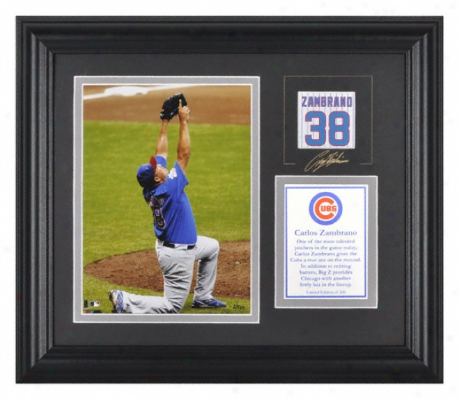 Carlos Zambrano Chicago Cubs Framed 6x8 Photograph With Facsimile Stamp And Plate