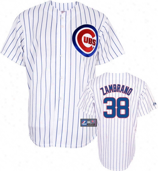 Carlos Zambrano Jersey: Adult Majestic Home Pinstripe Replica #38 Chicago Cubs Jersey