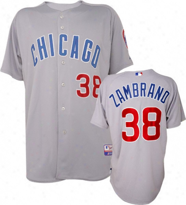 Carlos Zambrano Majesti cRoad Authentic Onfield Cool Base Chicago Cubs Jersey