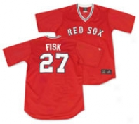Carlton Fisk Majestic Throeback Replica Boston Red Sox Jersey