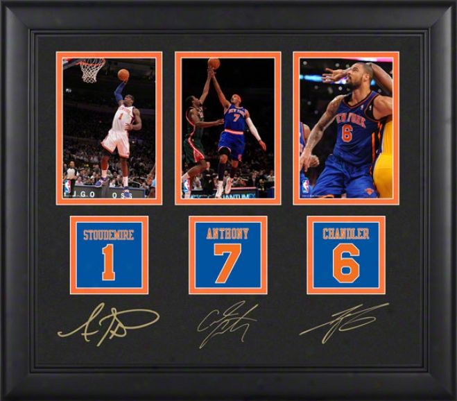 Carmelo Anthony, Amar'e Stoudemire, And Tyson Chandler Framed 4x6 Photograph  Details: New York Knicks, With Facsimile Signatures ,Jwrsey Number Replica Miniatu
