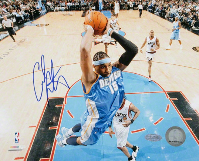 Carmelo Anthony Denvet Nuggets - Dunk Vs. Sixers - Autographed 8x10 Photoraph