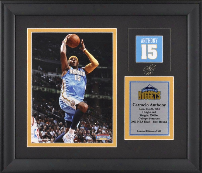 Carmelo Antbony Denver Nuggets Framed 6x8 Photograph With Facsimil eSignature And Plate - Limited Edition Of 500