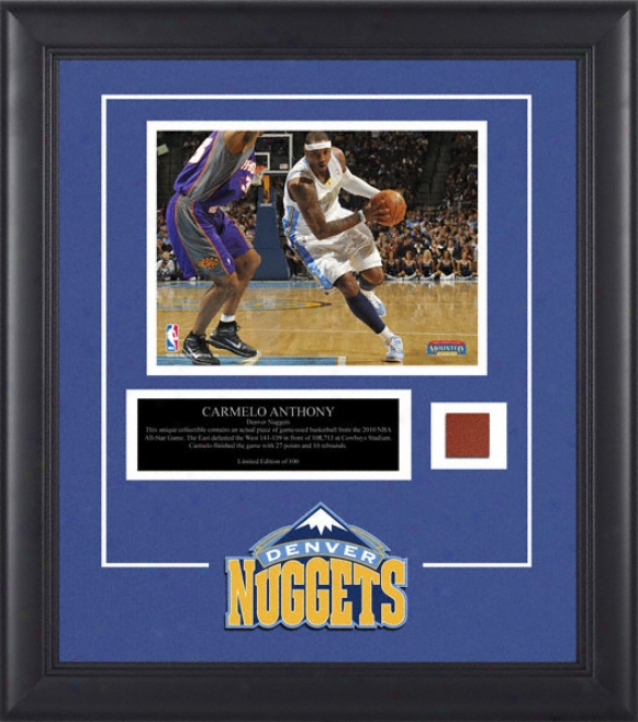 Carmelo Anthony Denver Nuggets Framed 8x10 Photograph With Game Used 2010 All Star Game Basketball Piece And Descriptive Plate