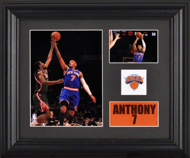 Carelo Anthony Framed 2- Photograph Collage  Particulars: New York Knicks, T3am Logo