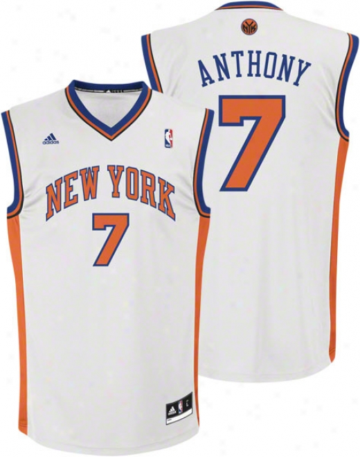 Carmelo Anthony Jersey: Adidas White Replica #7 Starting a~ York Knicks Jersey