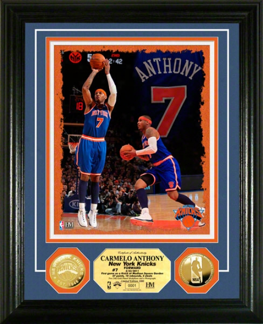 Carmelo Anhony New York Knicks 24kt Gold Coin Photo Mint
