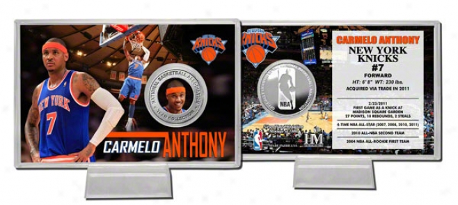 Carmelo Anthony New York Knicks Silver Coin Card