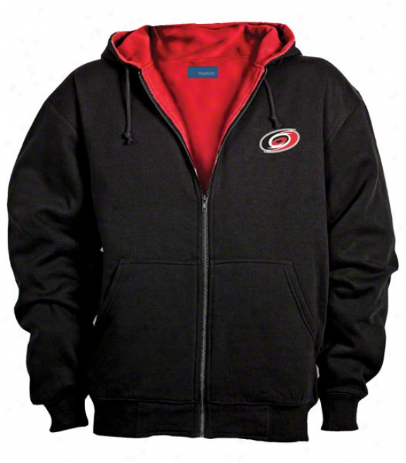 Carolina Hurricanes Jacket: Black Reebok Hooded Craftsman Jacket