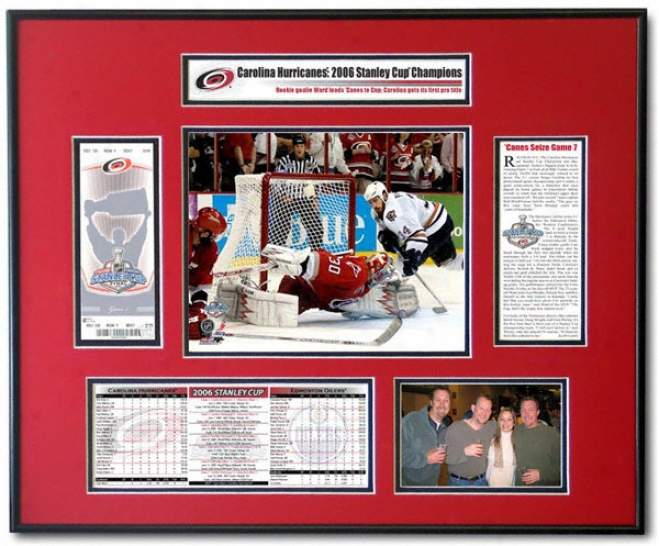 Carolina Hurricanes - Mvp Cam Ward - 2006 Sanley Cup Ticket Frame