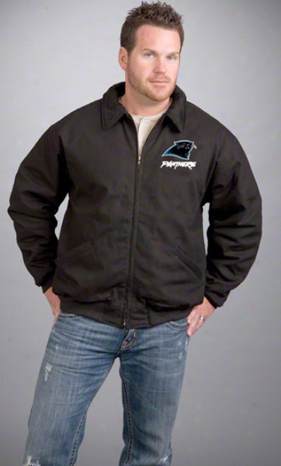 Carolina Panthers Jerkin: Black Reebok Saginaw Jacket