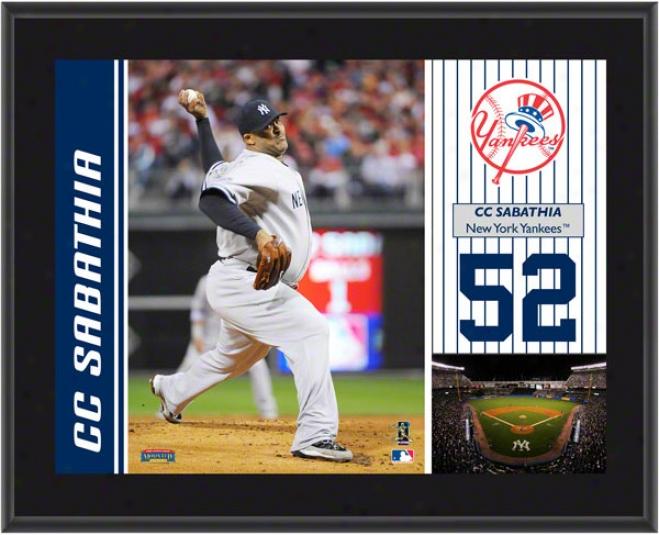 Cc Sabathia Plaque  Details: New York Yankees, Sublimated, 10x13, Mlb Plaque