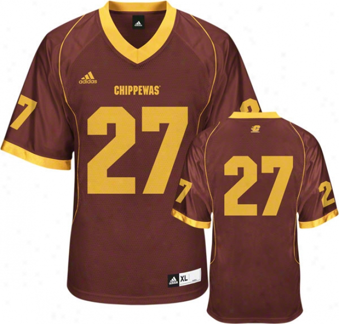 Central Michigan Chippewas Football Jersey: Adidas #27 Maroon Replica Football Jersey