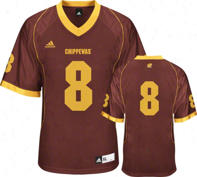 Central Michigan Chippewas Football Jersey: Adidas Maroon #8 Replica Football Jersey