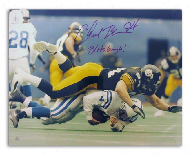 Chad Brown Autographed Pittsburgh Steelers 16x20 Photo Inscribed &quotblitzburgh!&quot
