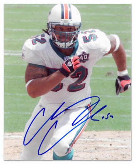 Channing Crowder Miami Dolphkns - Running - Autographed 8x10 Photograph