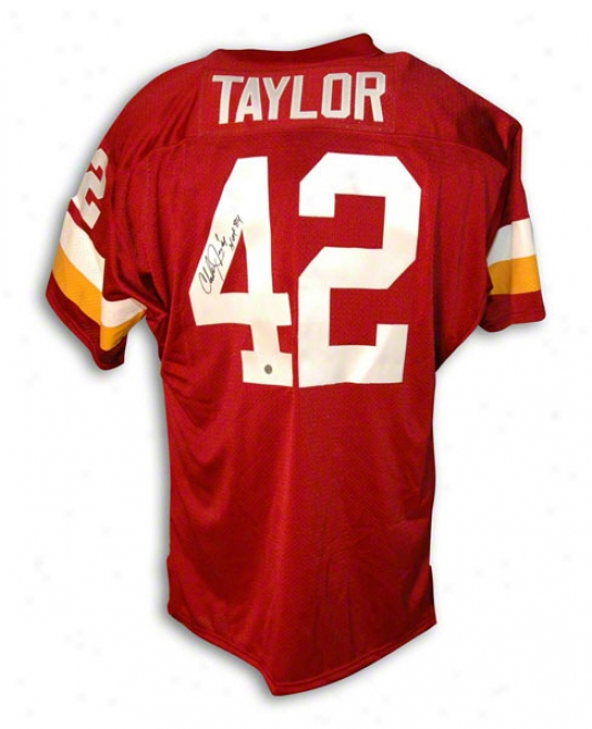 Charley Taylor Autographed Washington Redskins Red Throwback Jersey Inscribed &quothof 84&quot
