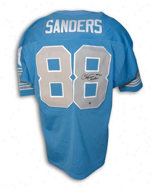 Charlie Sanders Autographed Detroit Lions Blue Throwback Jersey Inscribed &quothof 07&quot