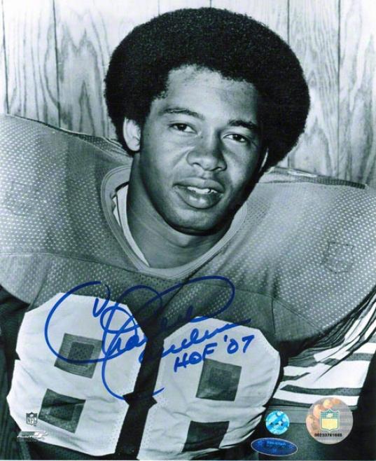 Charlie Sanders Detroit Lilns Autographed 8x10 Photo Inscribed Hof 07