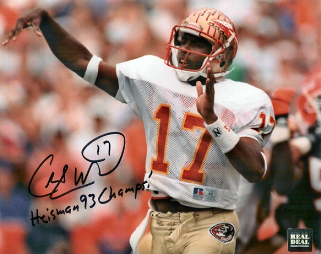 Charlie Ward Florida State Seminoles - Action - Autographed 8x10 Photograph With Heisman And 93 hCamps Inscriptions