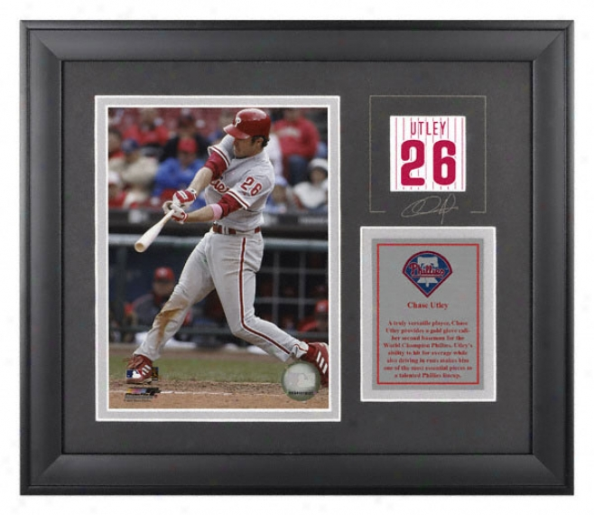 Chase Utley Framed 6x8 Photograph  Details: Philadelphia Phillies, With Facsimile Signature