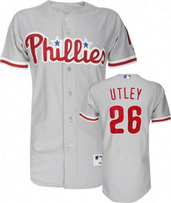 Chase Utley Grey Majestic Trustworthy Road On-field Philadelphia Phillies Jersey