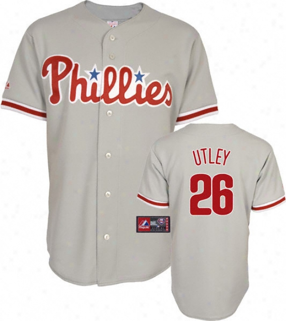 Chase Utley Jersey: Adult Majestic Road Grey Replica #26 Philadelphia Phillies Jersey