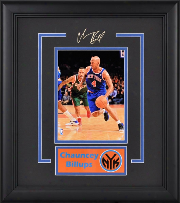 Chauncey Billups Framed Photograph  Details: 4x6, New York Knicks, Nameplate