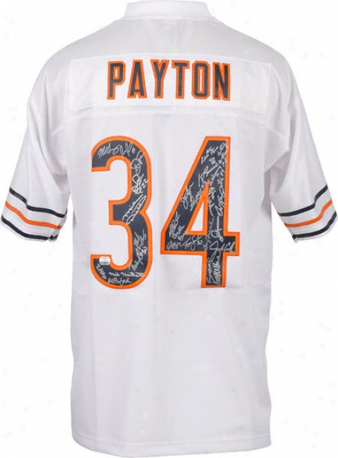 Chicago Bears 1985 Team Signed Jersey  Details: Walter Payton, White Reebok Premier