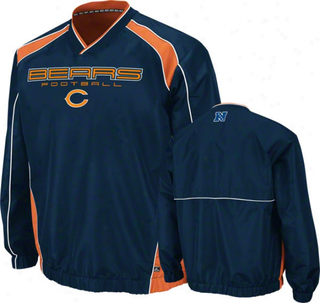 Chicago Bears Coach's Choice Ii Navy Lightweight Pullover Jerkin