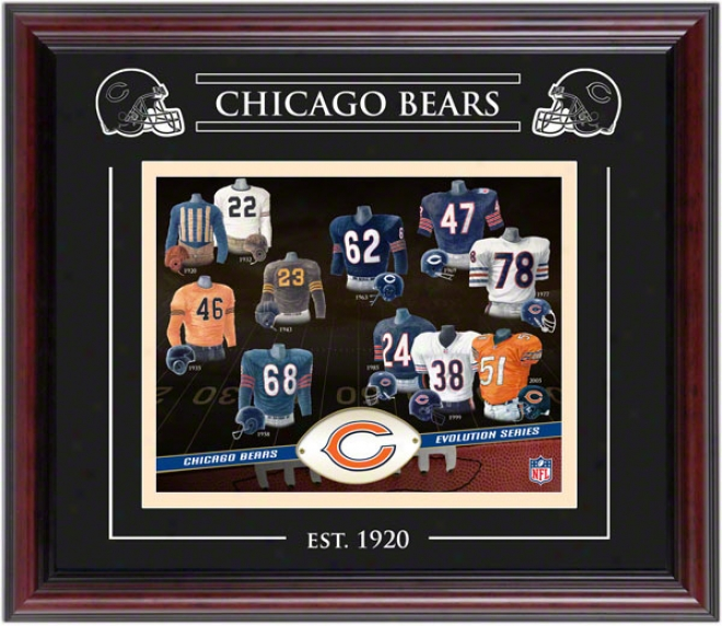 Chicago Bears - Evolution - Framed 8x10 Collage With Laser Etching