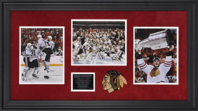 Chicago Blackhawks 2010 Stanley Cup Champions Framed 3 8x10 Photographs Wiith Logo And Plate