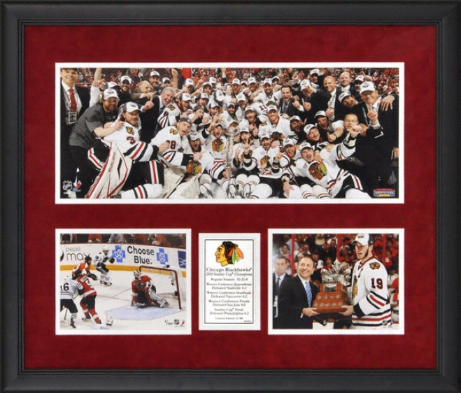 Chicago Blackhawks 2010 Stanley Cup Champions Framed Mini Panoramic With 2 6x8 Photographs - Limited Edition Of 500