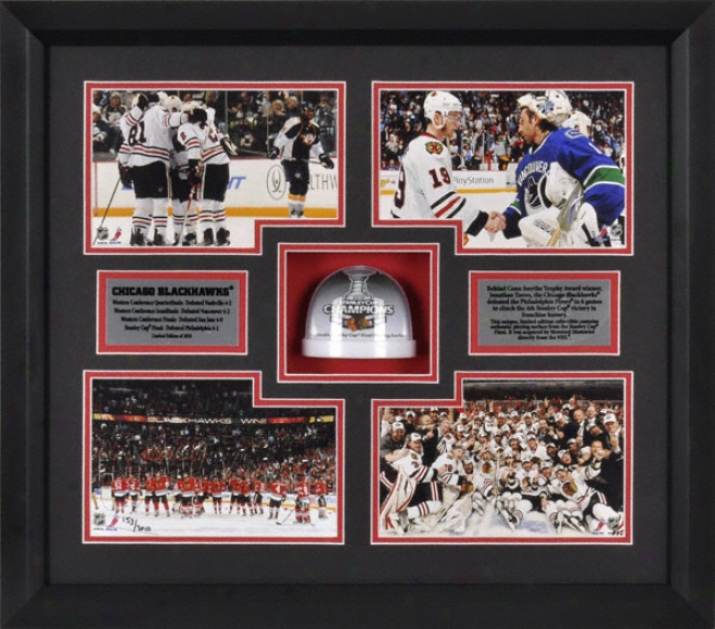 Chicago Blackhawks 2010 Stanley Draught Championship Framed 4 Photograph Collage With Stanley Cup Ice