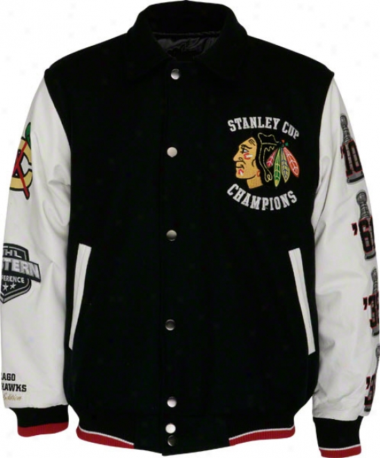 Chicago Blackhawks 4-time Stanley Cup Champions Commemorative Wool Varsity Jacket