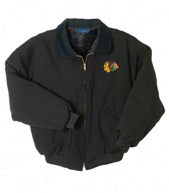Chicago Blackhawks Jacket: Black Reebok Saginaw Jacket