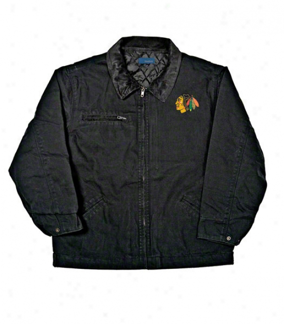 Chicago Blackhawks Jacket: Black Reebok Tradesman Jacket