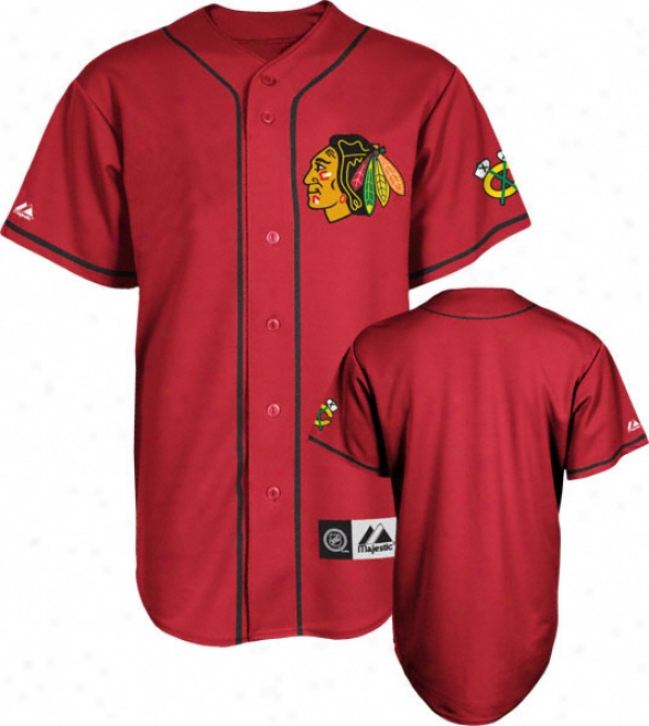 Chicago Blcakhawks Jersey: Red Nhl Replica Baseball Jersey