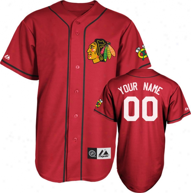 Chicago Blackhawks Jersey: Scarlet Customizable Nhl Replica Baseball Jersey