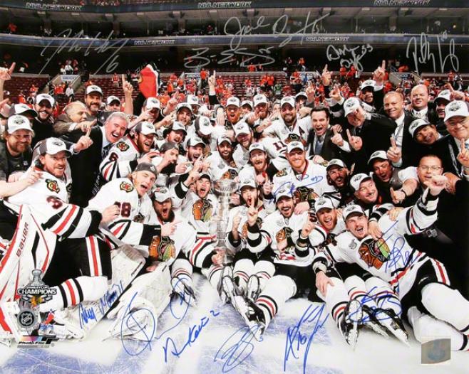 Chifago Blackhawks Team Autographed Photograph  Details: 2010 Staanley Cup Celebration, 16x20, 13 Signatures