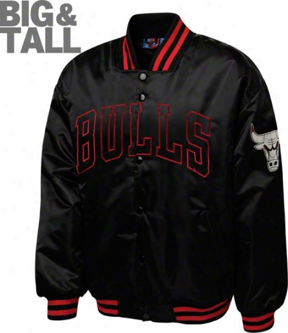 Chicago Bulls Big & Tall Black On Negro Satin Jacket