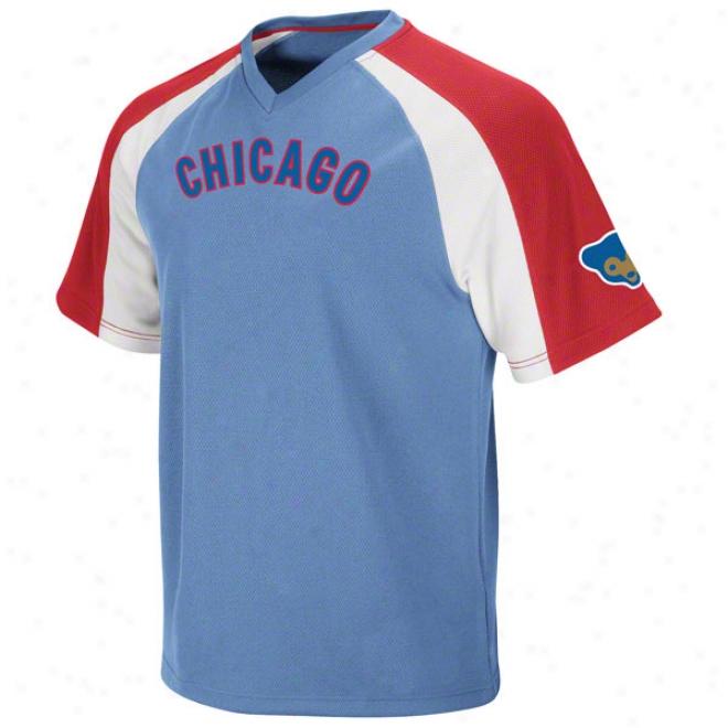 Chicago Cubs Cooperstown Light Blue Crusader V-neck Jersey