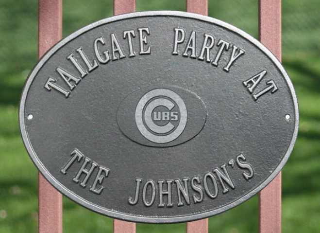 Chicago Cubs Pewter And Silver Personalized Indoor/outdoor Plaque