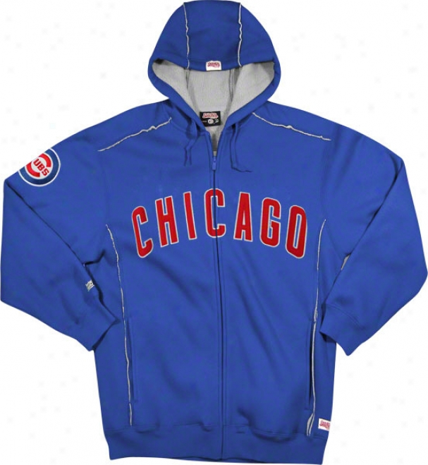 Chicago Cubs Royal Grand Slam Full-zip Sherpa Lined Warm Hooded Jacket