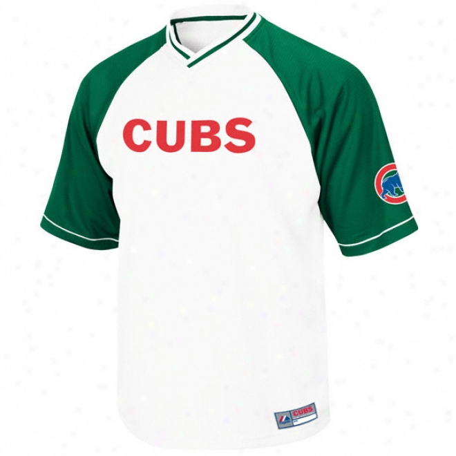 Chicago Cubs White Full Force V-neck Raglan Jersey
