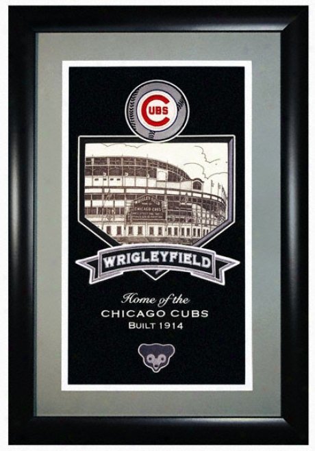 Chicago Cubs Wrigley Field -stadium Assemblage- Framed Double Matted Tribute