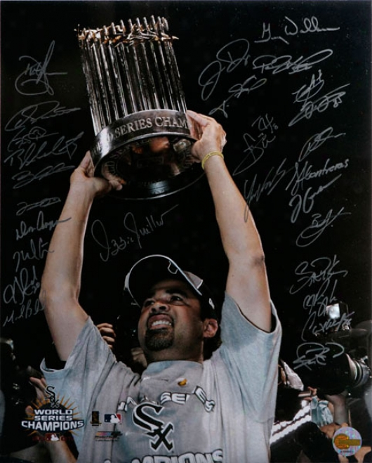 Chicago White Sox - 2005 World Champions - Ozzie With Trophy - Team Signed 16x20 Photograph With 27 Signatures