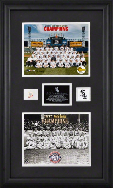 Chicago White Sox - 2005 World Succession Champions And 1917 World Series Champoons - Framed 8x10 Photographs With Game Used Baseball Piece Piece And Descriptive Pl